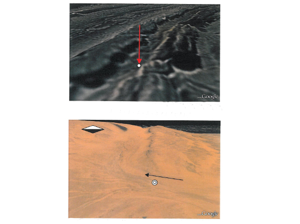 Image 7. Pictures by Earth Google on which are marked the two locations at where the above onsite measurements were taken.